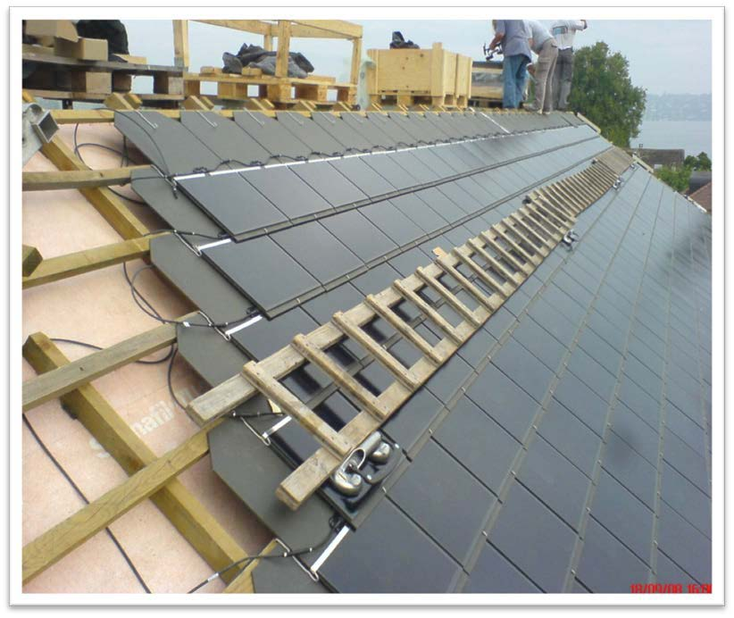Installation of solar tiles, SES